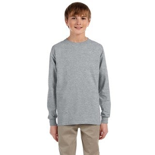 Boys' Grey Athletic Heavyweight Cotton/Polyester Blend Long-Sleeve T-Shirt