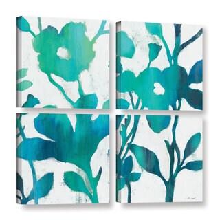 Silvia Vassileva's 'Teal Trio V on White' 4 Piece Gallery Wrapped Canvas Square Set