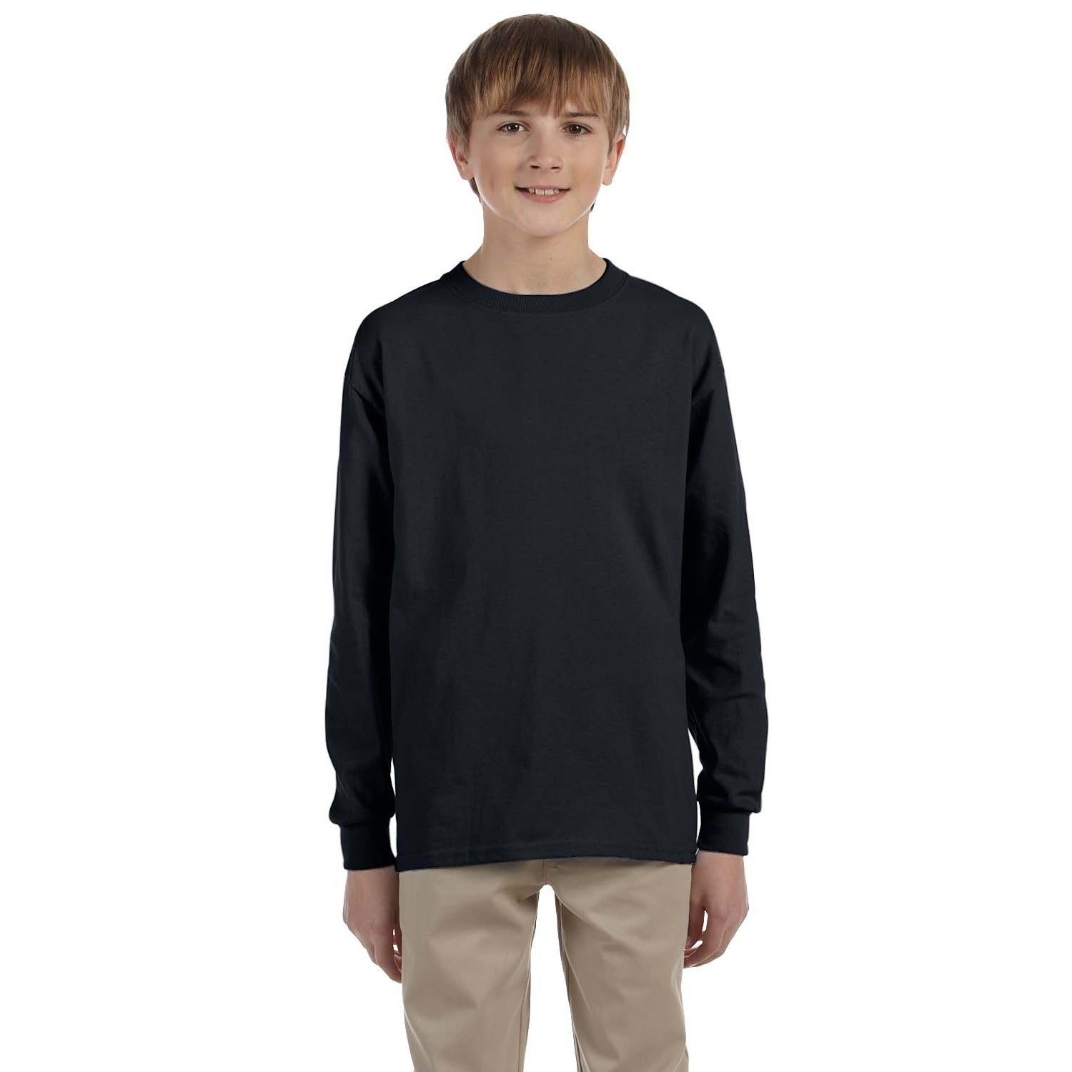 Jerzees Boys' Black Cotton/Polyester Blend Heavyweight Lo...