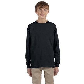Jerzees Boys' Black Cotton/Polyester Blend Heavyweight Long-sleeved T-shirt