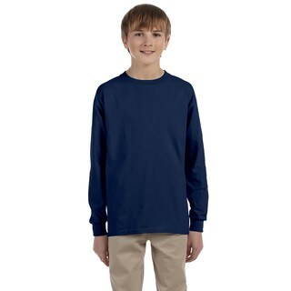 Jerzees Boys' Navy Heavyweight Cotton/Polyester Long-sleeved T-shirt