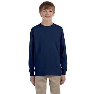 Jerzees Boys' Navy Heavyweight Cotton/Polyester Long-sleeved T-shirt