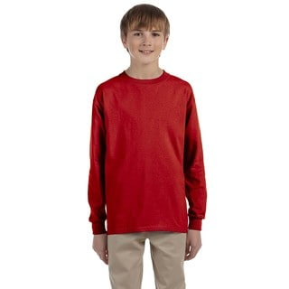 Boys' Heavyweight Blend True Red Long-sleeve T-shirt