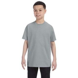 Boys' Grey Polyester/Cotton Heavyweight Blend Athletic Heather T-shirt