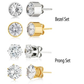 Link to Cubic Zirconia 8.0ct Stud Earrings in Stainless Steel (2 Pair Set) Similar Items in Men's Jewelry