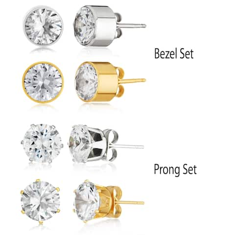 Cubic Zirconia 8.0ct Stud Earrings in Stainless Steel (2 Pair Set)