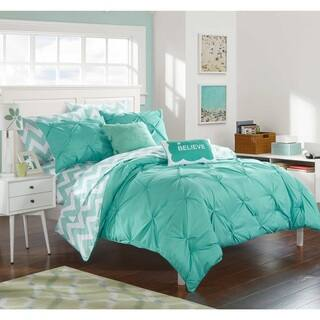 chic home foxville aqua 9 piece bed in a bag with sheet set - Bedding In A Bag