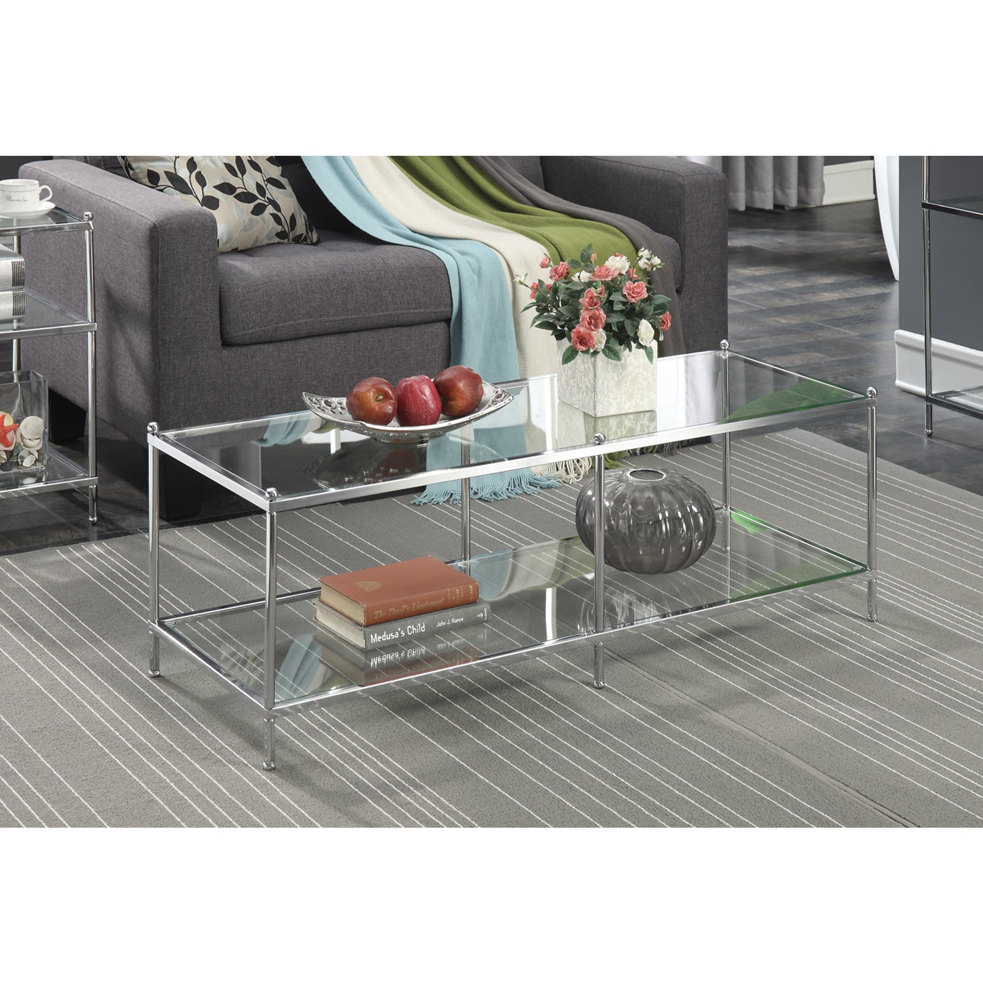Convenience Concepts Royal Crest Glass Coffee Table (Chro...