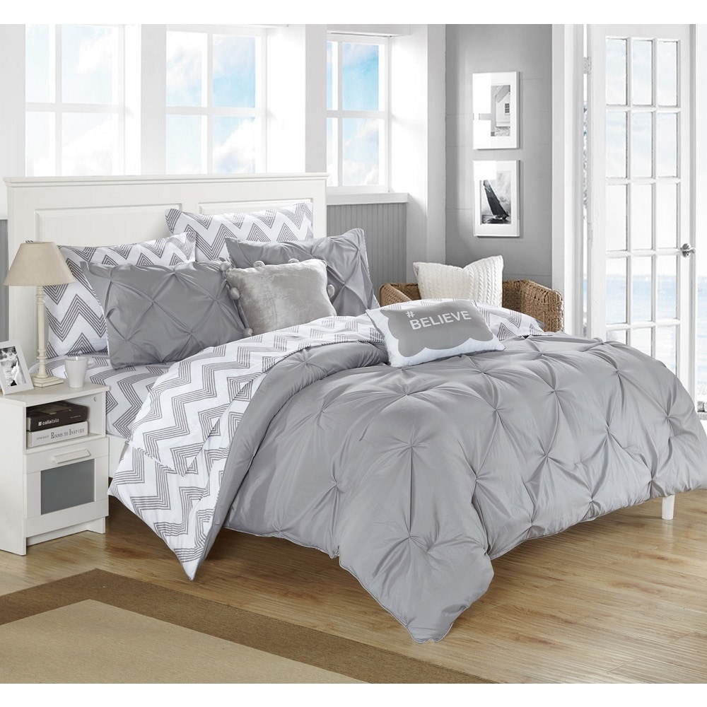 9 Piece Pinch Pleat Pintuck Gray Comforter Bed-in-a-Bag Set with Sheets