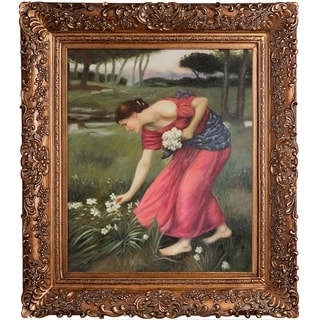John William Waterhouse 'Narcissus' Hand Painted Framed Canvas Art