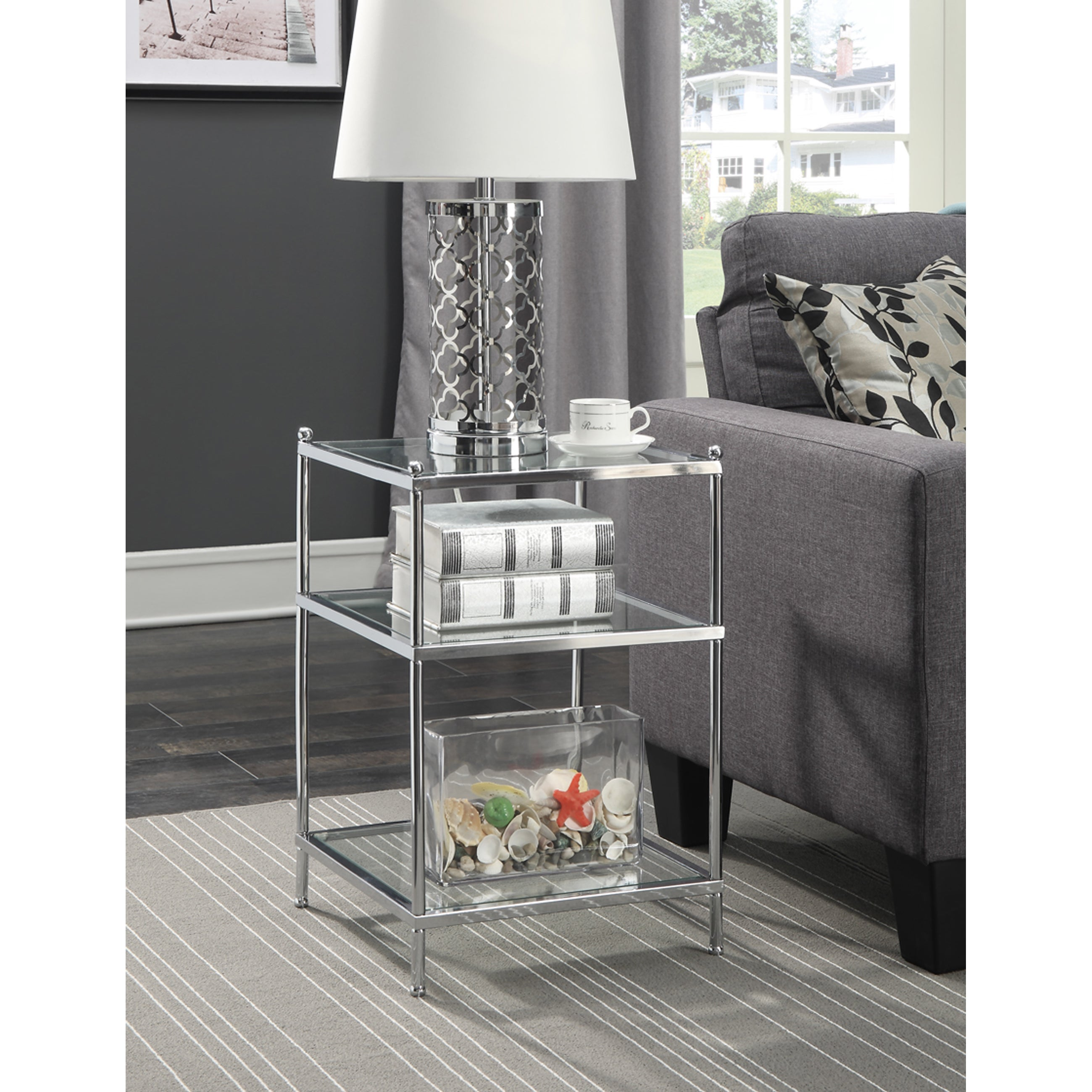 Convenience Concepts Royal Crest Chrome Glass End Table (...
