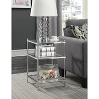 Convenience Concepts Royal Crest Chrome Glass End Table