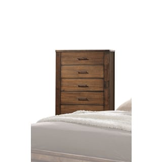 Merrilee Oak and Antique Brass 5-drawer Chest