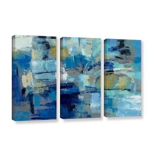 Silvia Vassileva's 'Ultramarine Waves III' 3 Piece Gallery Wrapped Canvas Set