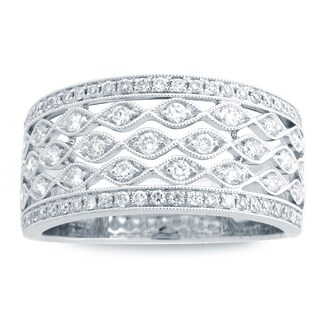 Azaro 14k White Gold 1/2ct TDW Round-cut Diamond Halfway Band with Milgrain (H-I, SI1-SI2)