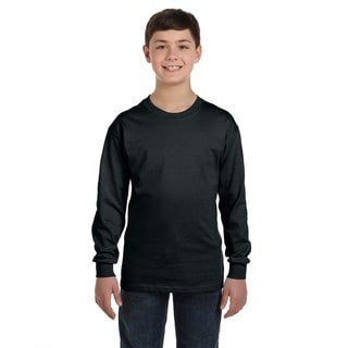 Boys' Black Heavy Cotton Long-sleeve T-shirt