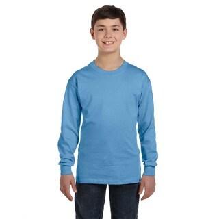 Gildan Boys' Carolina Blue Heavy Cotton Long-sleeve T-shirt