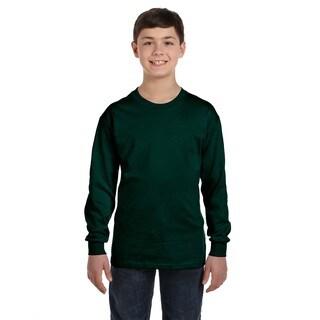 Gildan Boys' Forest Green Heavy Cotton Long-sleeve T-shirt