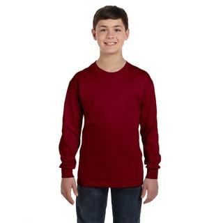 Gildan Boys' Garnet Heavy Cotton Long-sleeve T-shirt
