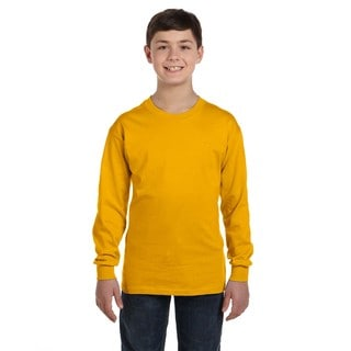 Boys' Gold Heavy Cotton Long-sleeveed T-Shirt