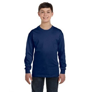 Gildan Boys' Navy Cotton Long-sleeve T-shirt
