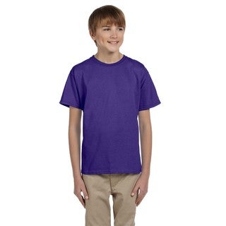 Fruit of the Loom Boys' Purple Heavy Cotton Heather T-shirt