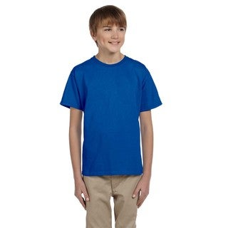Fruit of the Loom Boys' Royal Heavy Cotton Heather T-shirt.