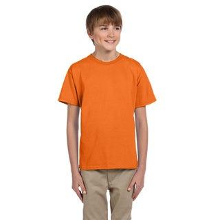 Fruit Of The Loom Boys' Heavy Cotton Heather Safety Orange T-Shirt