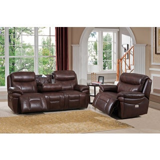 Sanford Top Grain Leather Power Recline Sofa and Chair Set with USB Ports