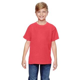 Boys' Neon Red/Orange Ringspun Cotton Garment-dyed T-shirt