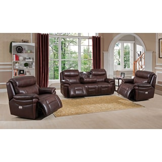 Sanford Top Grain Leather Power Reclining Sofa Chair Set with USB Ports