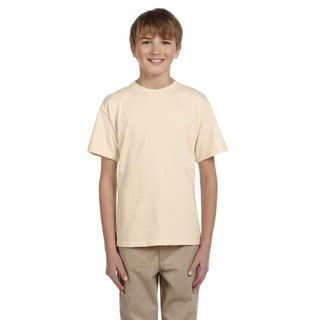 Fruit Of The Loom Boys' Natural Heavy Cotton/Polyester Heather T-shirt