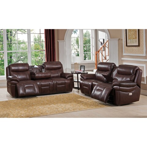 Sanford Leather Power Reclining Sofa and Loveseat Set with Power Headrests and USB Ports