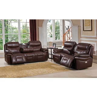 Sanford USB Port Top Grain Leather Power Reclining Sofa and Loveseat Set