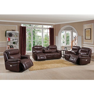Sanford Leather Power Reclining Sofa, Loveseat and Chair Set with Power Headrests and USB Ports