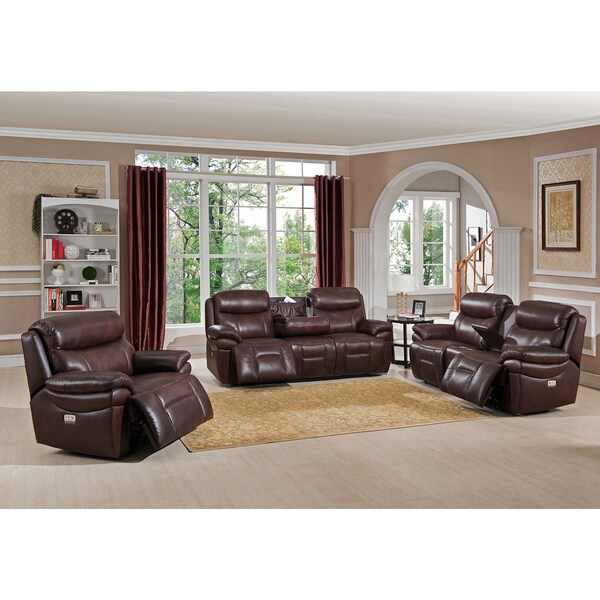 Sanford Leather Reclining Sofa Loveseat And Chair Set With Headrests Usb Ports