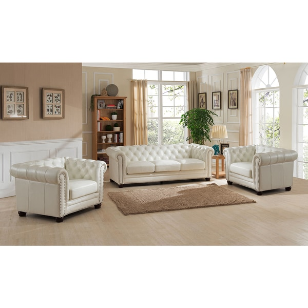 Nashville White Leather Tufted Chesterfield Sofa And Two Chair Set