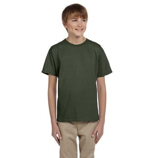 Fruit Of The Loom Boys Green Cotton T-shirt
