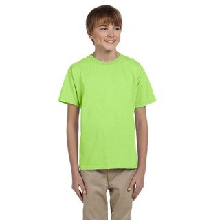 Fruit of the Loom Boys' Neon Green Heavy Cotton Heather T-shirt