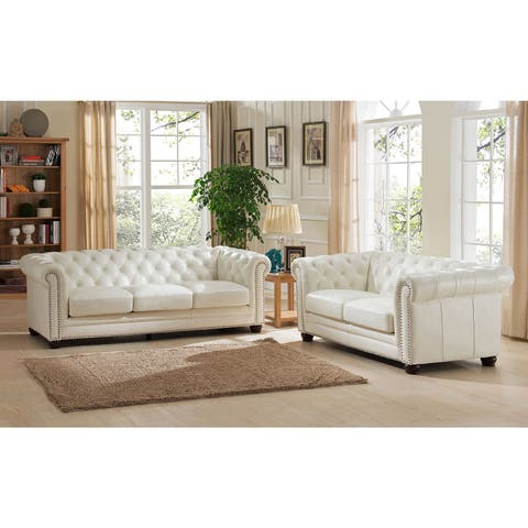 Nashville White Leather Chesterfield Sofa And Loveseat Set
