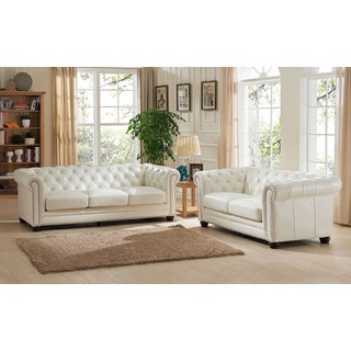 Nashville White Genuine Leather Chesterfield Sofa and Loveseat Set