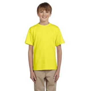 Fruit of the Loom Boys' Neon Yellow Heavy Cotton Heather T-shirt