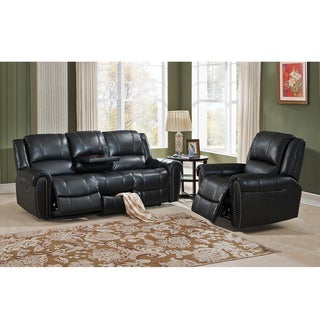 Houston Top Grain Leather Reclining Sofa and Chair Set with Storage Drawer