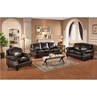 Vail Genuine Hand Rubbed Leather Sofa, Loveseat, and Chair, with Crocodile Embossing