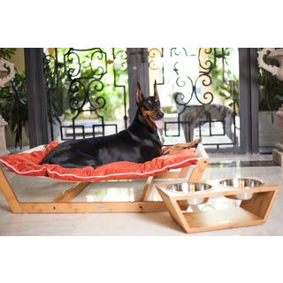 Bamboo Nautical Solid-colored Wood/Suede Hammock Dog and Cat Bed