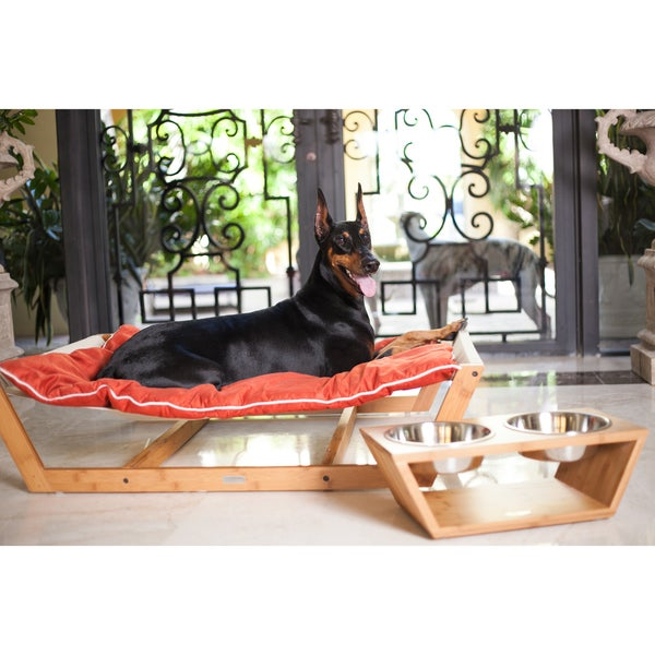 Pet Lounge Studios Bamboo Nautical Solid-colored Wood and Suede Hammock Dog and Cat Bed