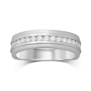 UNENDING LOVE 1/2CT TW MACHINE CHANNEL SET GENTS BAND (IJ I2)