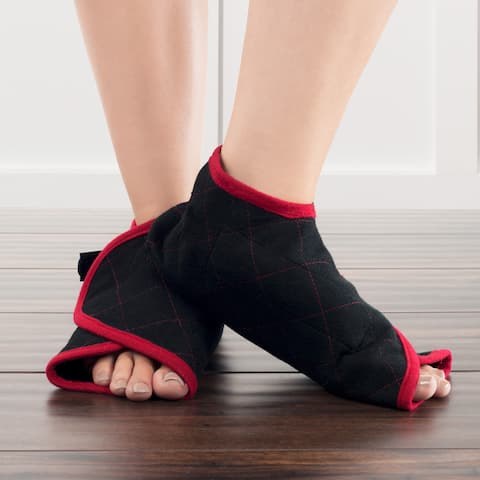 Hot or Cold Foot Wrap- Microwaveable or Freezable Pad for Pain Relief with Natural Buckwheat Filling by Bluestone (One Pair)