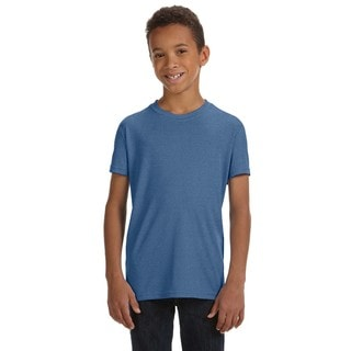 For Team 365 Boys' Heather Navy Performance Short-sleeve T-shirt