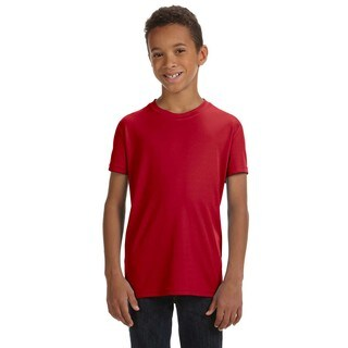 For Team 365 Boys' Scarlet Red Short-sleeve Performance T-shirt